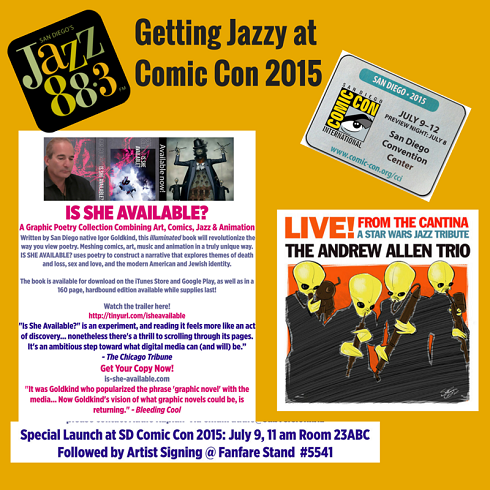 Igor Goldkind and The Andrew Allen Trio Getting Jazzy at San Diego Comic Con 2015