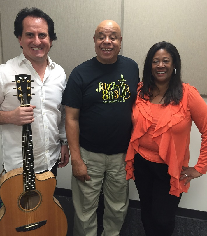 Shea Welsh, Afternoon Jazz Host Ron Dhanifu, and Michelle Coltrane in the Jazz 88.3 Studios, October 2, 2015