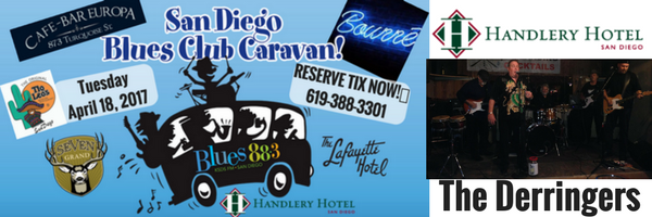 Handlery Hotel Features The Derringers With Host Janine Harty For Jazz 88.3 San Diego Blues Club Caravan, Tuesday, April 18, 2017